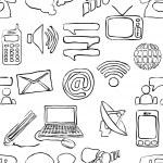 Sketch seamless communication pattern — Stock Vector