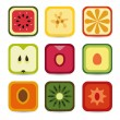 Fruit application icons — Stock Vector