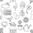 Seamless sketch spring pattern — Stock vektor
