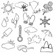 Doodle weather images — Stock Vector