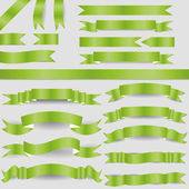 Green ribbons — Vector de stock