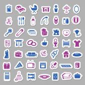 家庭和家庭贴纸 — 图库矢量图片