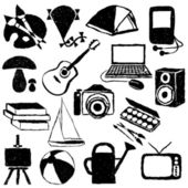 Doodle hobby images — Stock Vector