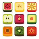 Owoce aplikacji ikony — Wektor stockowy
