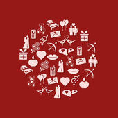 Valentine icons in circle — 图库矢量图片