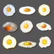 Fried egg collection — Stock Vector
