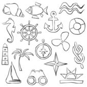 Sketch marine images — Stock Vector