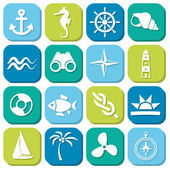 Marine icons in squares — Stock Vector