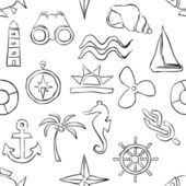 Seamless sketch marine pattern — Vettoriale Stock