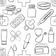 Sketch pharmacy seamless pattern — Stock Vector