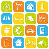 Travel icons in squares — Stock Vector