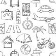 Seamless sketch travel pattern — Stockvektor