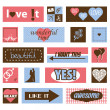 Stock Vector: Vintage love pictures and titles