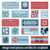 Vintage travel pictures and titles — Stock Vector