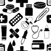 Doodle seamless pattern di farmacia — Vettoriale Stock