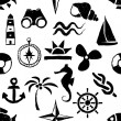 Seamless doodle marine pattern — Stockvectorbeeld