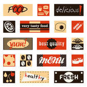 Vintage food pictures and titles — Stock Vector