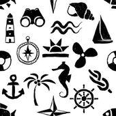 Seamless doodle marine pattern — Stock Vector