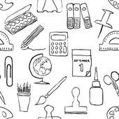 Sketch stationery seamless pattern — Stock Vector