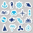 Marine stickers — Stock Vector