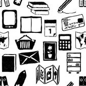 Doodle bookshop seamless pattern — Stock Vector