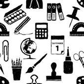Doodle seamless pattern di cancelleria — Vettoriale Stock