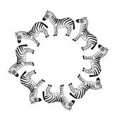 Zebra in circle — Stock Vector