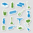 Cleaning stickers — Stock Vector