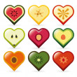 Stock Vector: Fruit hearts
