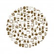 Stock Vector: Coffee icons in circle