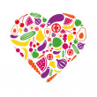 Stock Vector: Fruits and vegetables heart