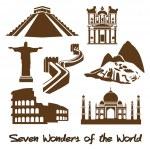 семь чудес мира — Cтоковый вектор #39482451
