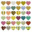 Stock Vector: Patterned hearts