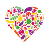 Fruits and vegetables heart — Stock Vector