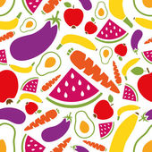 Fruits and vegetables seamless pattern — Stock Vector