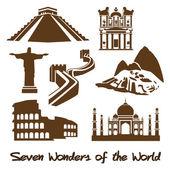 Sette meraviglie del mondo — Vettoriale Stock