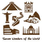 Seven Wonders of the World — Vector de stock