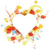 White heart over paint spots — Stock Vector