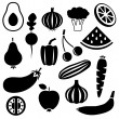 Stock Vector: Fruits and vegetables