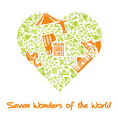 Seven Wonders of the World in Heart — Stock Vector