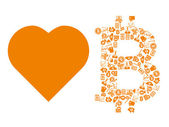 Love bitcoin symbol — Stock Vector