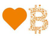 Love bitcoin symbol — Stock Vector