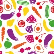 Stock Vector: Fruits and vegetables seamless pattern