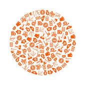 Bitcoin icons in circle — Stock Vector