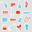 Stock Vector: Music instruments stickers
