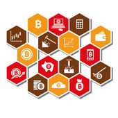 Bitcoin icons — Stock Vector