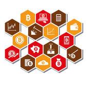 Bitcoin icons — Stock Vector