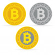Stock Vector: Bitcoin coins
