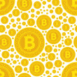 Stock Vector: Bitcoin coins seamless pattern