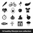 Stock Vector: Healthy lifestyle icons